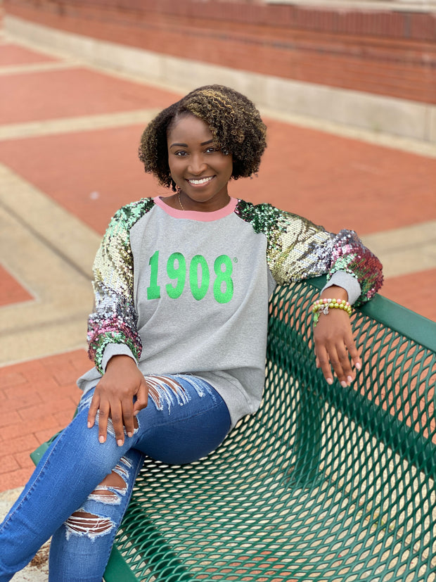 Ombre Sequins Sleeve 1908 Sweatshirt