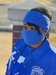 Royal Blue Knit set-Headband and Mask set