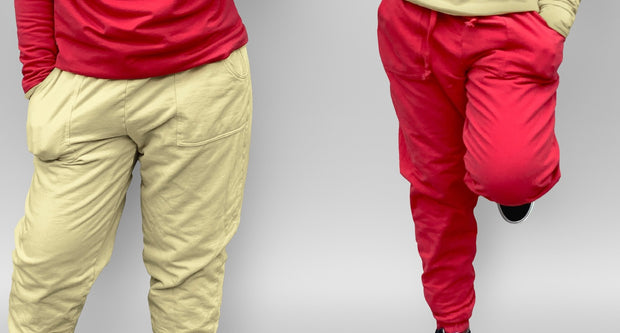Reversible  Red and Khaki Jogger pants-Final Sale