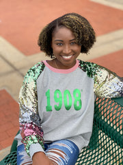 Ombre Sequins Sleeve 1908 Sweatshirt- All sales final. No refunds or exchanges