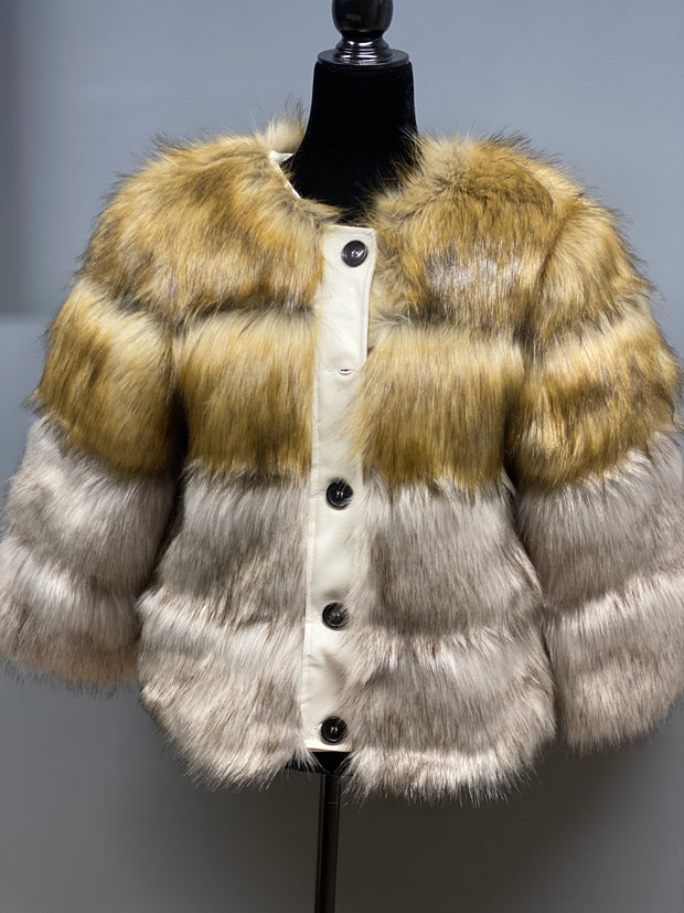 Earthtone striped Faux Fur Jacket