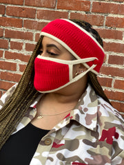 Crimson and Cream Trim -Knit Headband and Mask Set-Final Sale