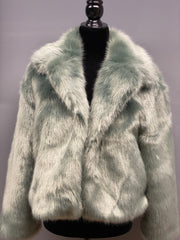Sage Green Faux Fur Jacket