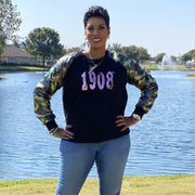 Camo Sequins Sleeve 1908 Sweatshirt -New Arrival