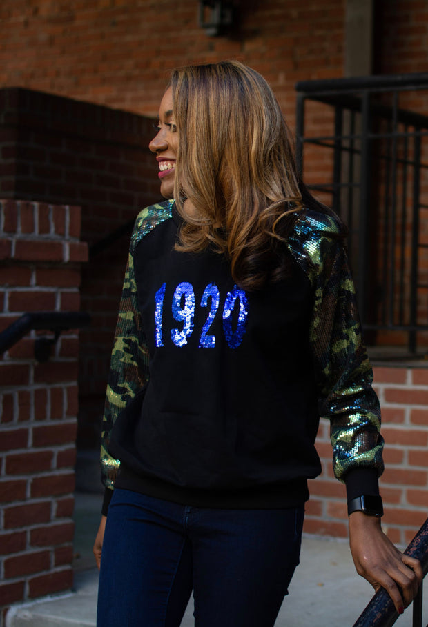 Camo Sequins Sleeve 1920 Sweatshirt- New Arrival