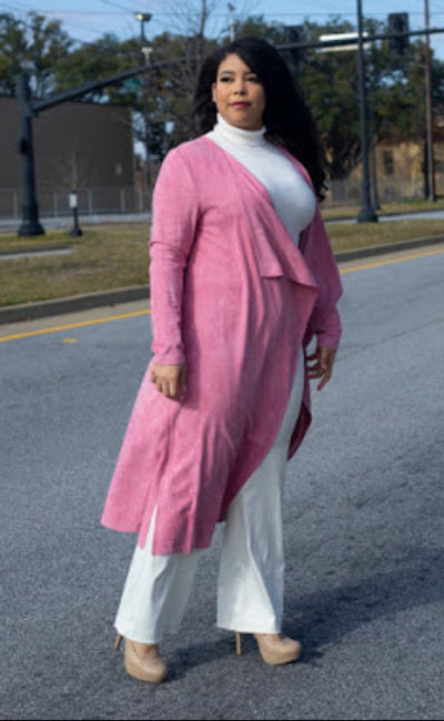 Faux Suede Mauve Sweater Duster