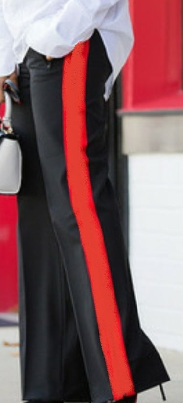 High waist pants- Black/ Red stripe