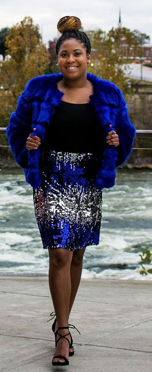 Sequins Ombre Blue & Silver Skirt