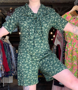 90's Green Sailor Playsuit