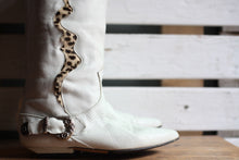 Load image into Gallery viewer, White & Animal Print Cowboy Boots