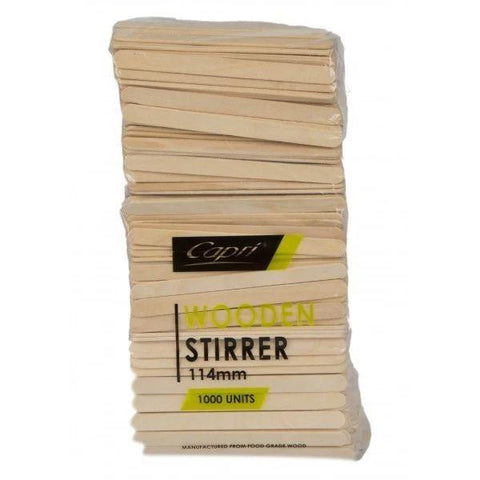 CAPRI WOODEN STIRRER 114MM 1000PCS