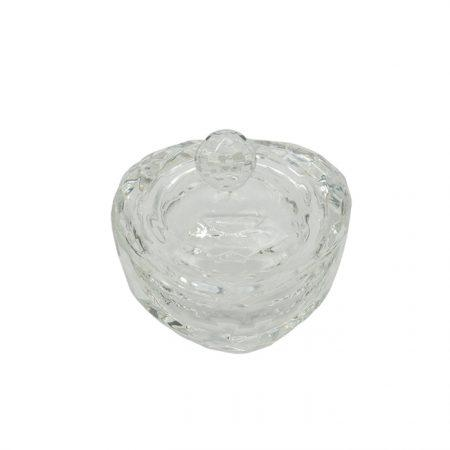 GLASS JAR POWDER CONTAINER HEART SHAPE