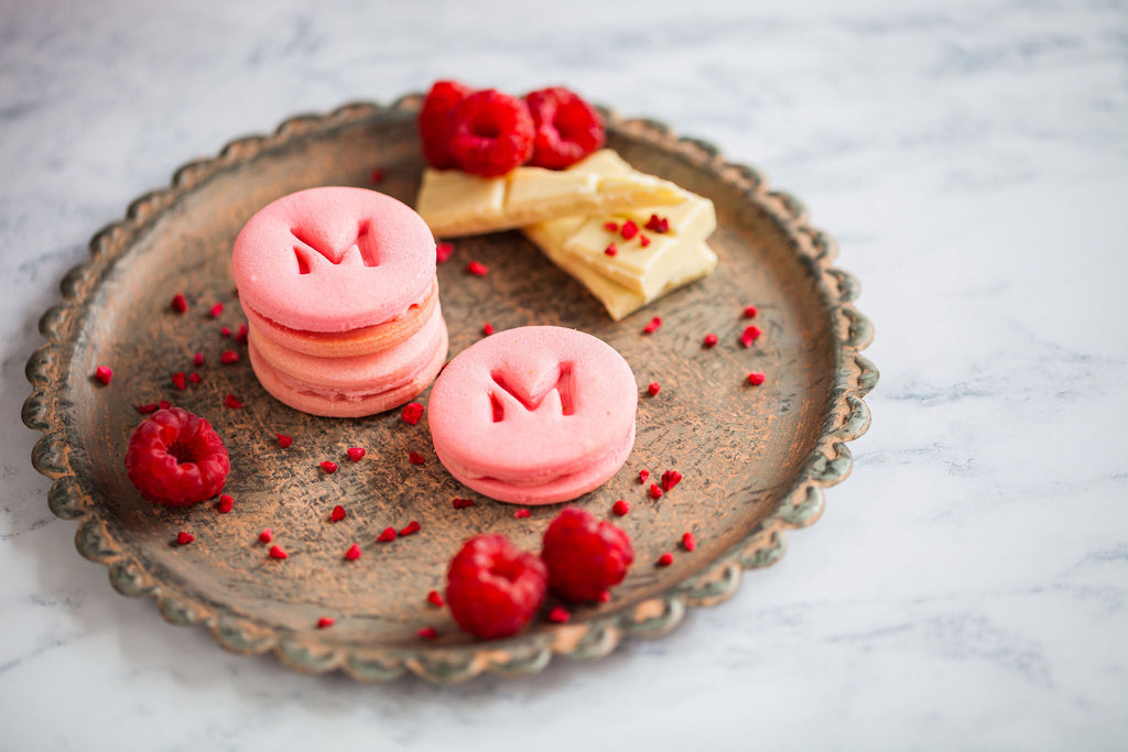 Raspberry White Chocolate Alfajores Biscuits