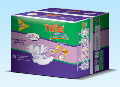 Taib Couches Adult Avec Wasit Band Taille Midi- 12 Unités  (4 packs)