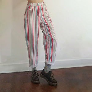 Retro Style Striped Casual Trousers