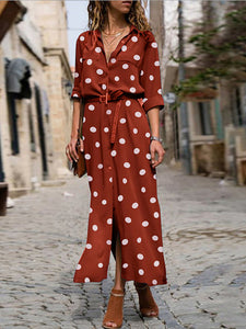 Casual Polka Dot Shirt Dress