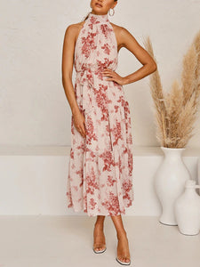 high neck layered sleeveless floral print maxi dress