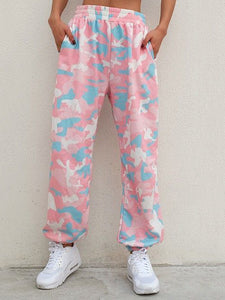Fashion tie-dyed cotton loose sport trousers