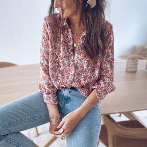 Womens fashion French floral shirt RY87