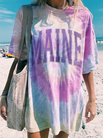 Tie-dye printed short sleeve casual long T-shirt