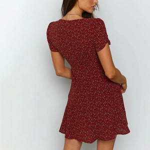 Short Sleeve Floral Mini Dress