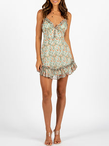 Sexy suspender ruffle print dress