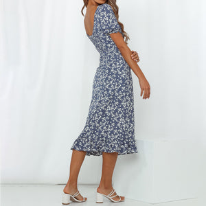 One-shoulder mid sleeve printed sexy midi dress
