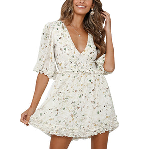 V-neck puff sleeve chiffon print ladies dress