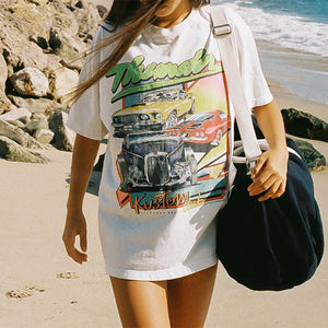 Vintage Round Neck Short Sleeve Printed T-shirt