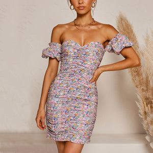 Sexy tube top strapless slim print dress