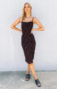 Straps Frille Black Floral Midi Dress