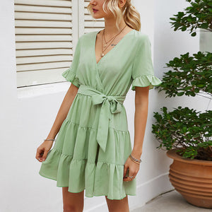 Women's Lace V-Neck Solid Color Holiday Casual Dress Short Skirt