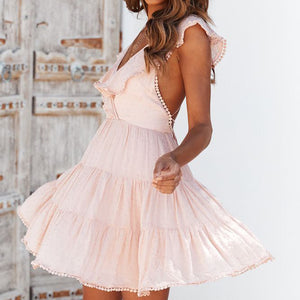 Sweet sexy v-neck halter tassel dress women