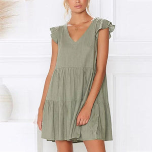 Solid color sexy V-neck loose layered dress