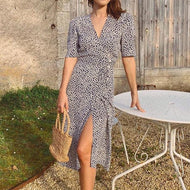 Vintage V-neck print short-sleeved dress