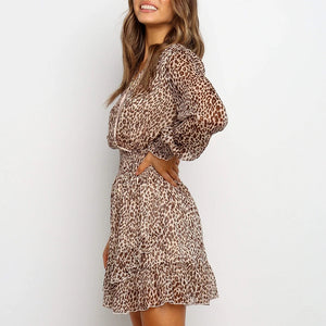 V-neck leopard print long-sleeved elastic cuff ladies dress