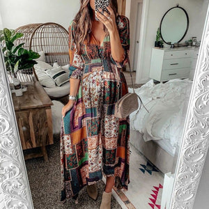 Vacation Casual Print High Waist Maxi Dress