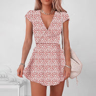 Printed V-neck waist mini dress