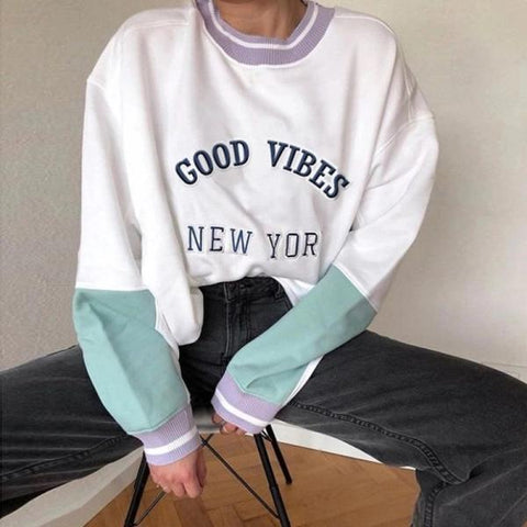 Women's loose fashion top ladies casual long-sleeved sweater women