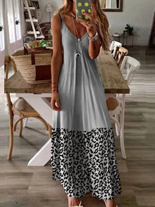 Casual Leopard Print Panel Sleeveless Dress