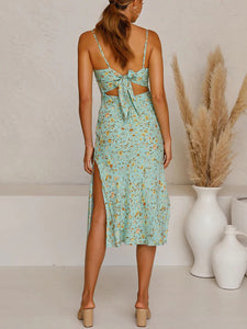 v-neck open back floral print side split dress