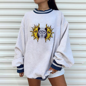 Casual fashion long short sleeve printed sweater