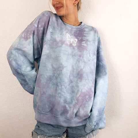 Stylish tie-dye butterfly print loose long sweatshirt