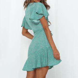 V-neck loose print mini dress