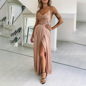 Sexy V Neck Plain Braces Evening Dress