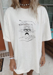 Round neck solid color moon sun pattern tee