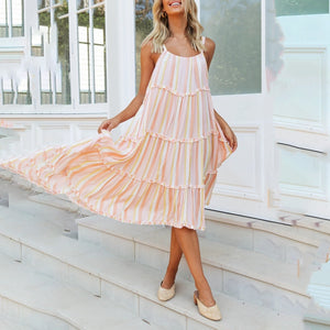 Strap Fashion Striped Swing Dress