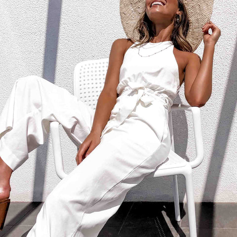 Lace-up cotton-linen solid base casual jumpsuit