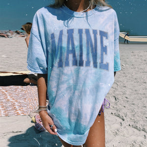 Tie-dye Light Blue Letter Printed  Casual Long T-shirts