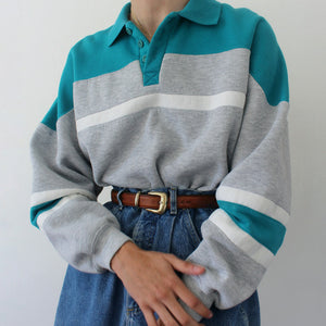 Simple Gray And Green Color-block Sweatshirts